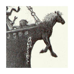 a horse becomes the prow of a boat