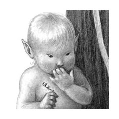 an elfin infant holding a bird leg puts a hand to her mouth