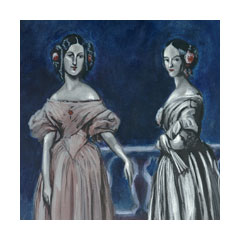 two elegant, rather sinister looking ladies in antebellum fashions lean against a railing in ambiguous darkness
