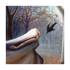 a woman swoops just behind a black bird suspended in the air in a grey forest