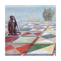 on a vast and colorful checkerboard a giant griffin gazes off