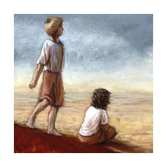 two windblown children in a hot, dry enironment look off towards the horizon