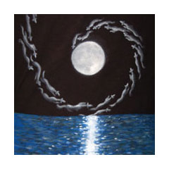 painted on fabric, ghostly hounds spiral in around a full moon above the ocean