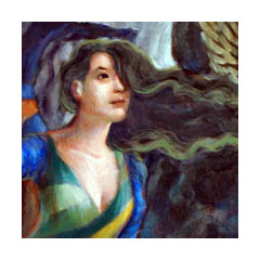 a painting of a woman with green-tinged long dark hair blowing forward