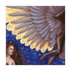 a painting depicting a woman looking on as a shadowy male figure spreads giant lavender and gold wings