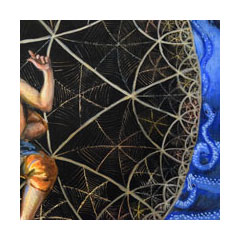 a painting of the edge of a hyperbolic fractal circle, a woman sitting within it and blue snakes without