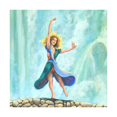 a painting of a woman dancing on a bridge in front of a waterfall